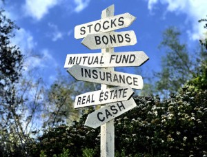 Investment options on a signpost Original Filename: 86060322.jpg